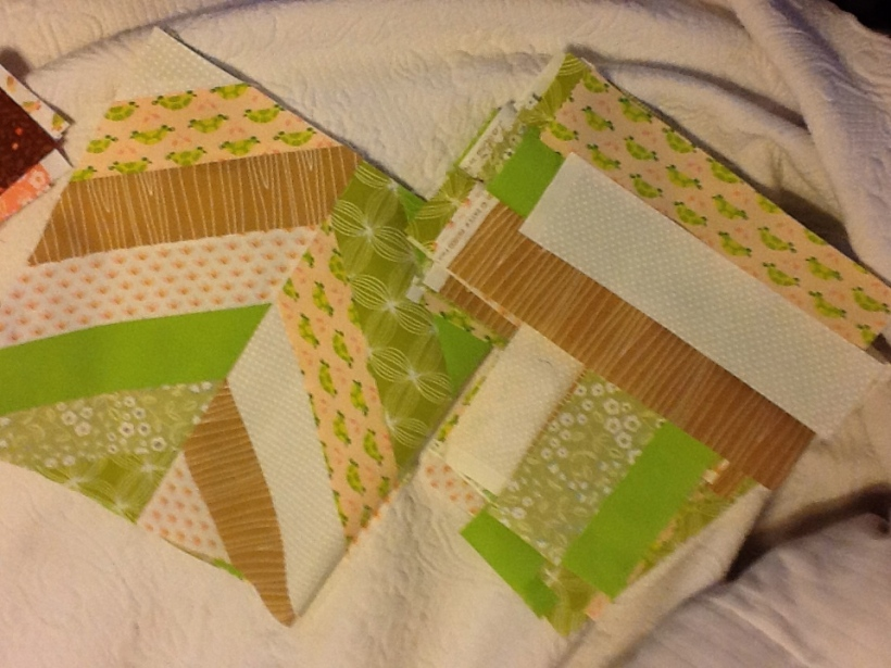 I have finished three blocks and stitched them together.